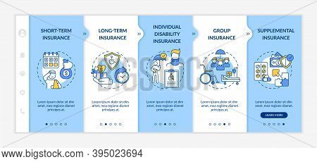 Disability Insurance Types Onboarding Vector Template. Long And Short Insurance Types. Health Medica