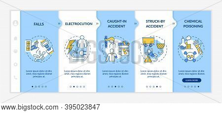 Work Related Injuries Information Onboarding Vector Template. Body Injury During Job Process. Respon