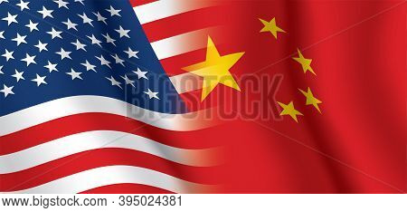 Usa And China Waving Flags Vector Background. The United States Of America And The Peoples Republic