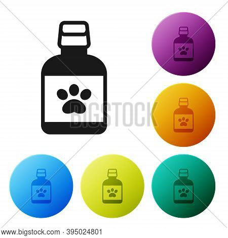 Black Dog Medicine Bottle Icon Isolated On White Background. Container With Pills. Prescription Medi