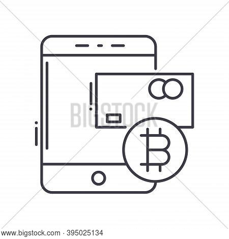 Cashless Icon, Linear Isolated Illustration, Thin Line Vector, Web Design Sign, Outline Concept Symb