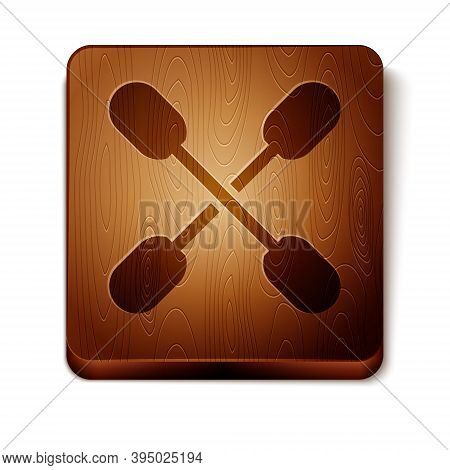 Brown Cotton Swab For Ears Icon Isolated On White Background. Wooden Square Button. Vector