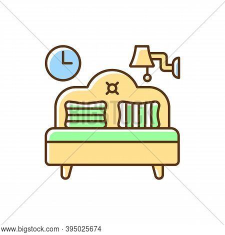 Bedroom Furniture Rgb Color Icon. Bedding. Home Furnishings. Bed And Mattress. Interior Design. Hang