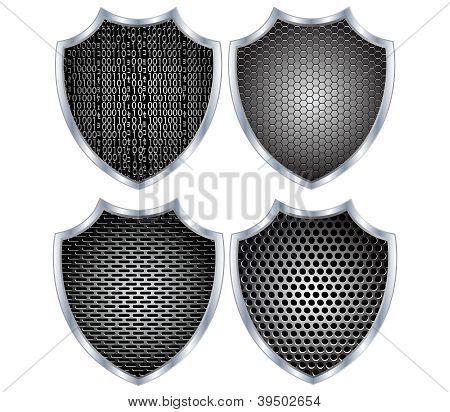 Security shield metal.Vector
