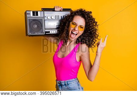 Photo Of Cool Crazy Youngster Lady Wavy Hairdo Listen Youth Music Hold Retro Boom Box Chill Beach Pa