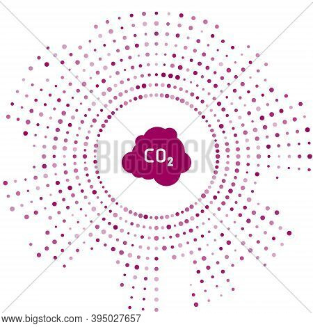 Purple Co2 Emissions In Cloud Icon Isolated On White Background. Carbon Dioxide Formula, Smog Pollut