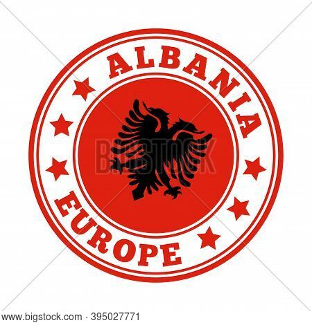 Albania Sign. Round Country Logo With Flag Of Albania. Vector Illustration.