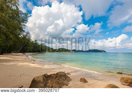 Beach On Koh Phangan In Thailand, Paradise, Sunny Beach, Coconuts And Palm Trees, Sunbathing And Swi