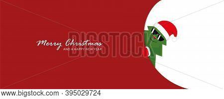 Cute Christmas Tree With Sunglasses Looks Around The Corner Funny Christmas Design Vector Illustrati
