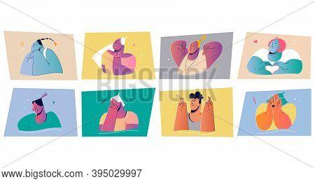 Emotion, Face Expression Set Concept. Positive And Negative Emotional People Illustration For Print.