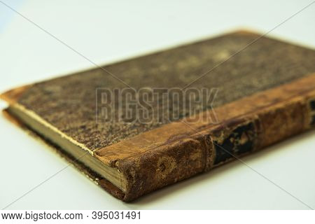Worn Old Journal Or Book In Aged Binding.