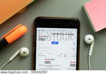 New York, United States - 7 November 2020: Audi Bkk Service App Store Logo On Phone Screen, Illustra