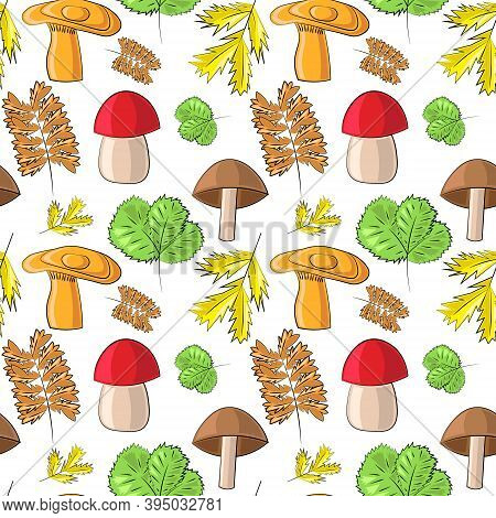 Seamless Vector Pattern With Wild Mushrooms And Leaves