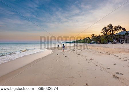 Lamai Beach On Koh Samui In Thailand, Paradise, Sunny Beach, Coconuts And Palm Trees, Sunbathing And