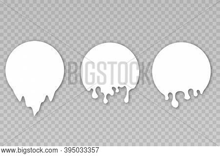 Milk Labels With Drips. Milkshake Melt Circle Stickers With Drops. Paint Drip Stickers, Circle White