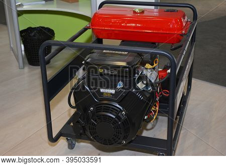 Kyiv, Ukraine - October  30, 2020: A Close-up On A Recoil Gasoline Portable Mobile Generator, Outdoo