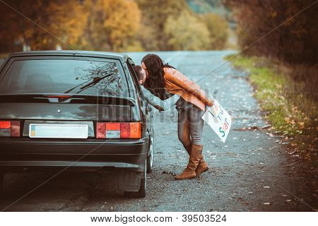 first acquaintance of a young couple on road