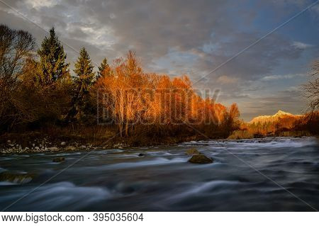 Krivan Shield With Bela River In Autumn Colors