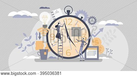 Time Management With Schedule As Busy Work Productivity Tiny Person Concept. Precise Duties Planning