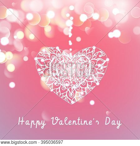 Vector Heart On A Pink Background With Bokeh And Light. Happy Valentines Day Card Design. 14 Februar