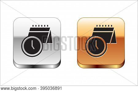 Black Calendar And Clock Icon Isolated On White Background. Schedule, Appointment, Organizer, Timesh