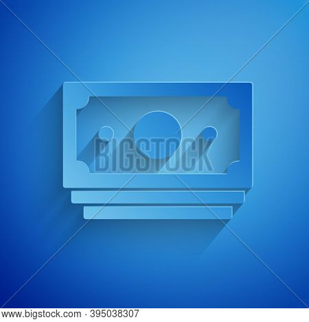 Paper Cut Stacks Paper Money Cash Icon Isolated On Blue Background. Money Banknotes Stacks. Bill Cur