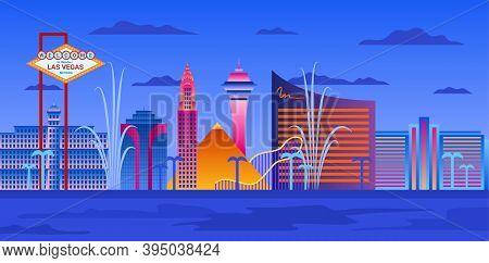 Cartoon Color Las Vegas City Skyline Landscape Scene Travel And Casino Concept Flat Design Style. Ve