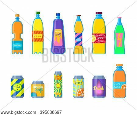 Cartoon Color Different Soft Drinks Bottles Icons Set Include Of Soda, Juice And Tonic. Vector Illus