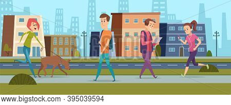 People Walking. Men Women On Street, Peace And Kind In City. Cartoon Girl Running, Female Walk With