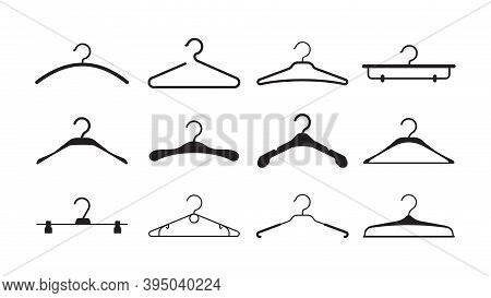 Clothes Hangers. Storage Wardrobe Items Fabric Hangers With Hook Black Silhouettes Vector Pictogram.