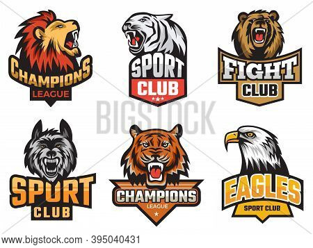Sport Emblem Pack. Wild Animals Stylized Picture For Logo Or Team Badges Shields With Mascots Animal