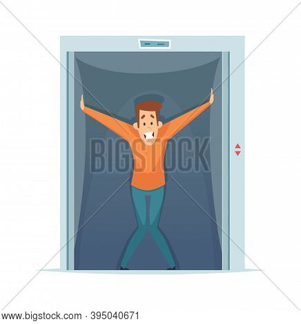 Claustrophobia. Frightened Man In Elevator, Fear Of Confined Space. Mental Phobia Vector Illustratio