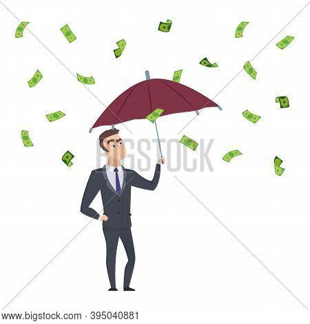 Money Rain. Businessman With Umbrella Under Falling Cash. Investment Profit, Successful Business Vec