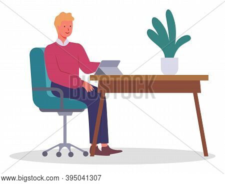 Office Worker At The Table With A Tablet. Businessman Or A Clerk Working At His Office Workplace Fla