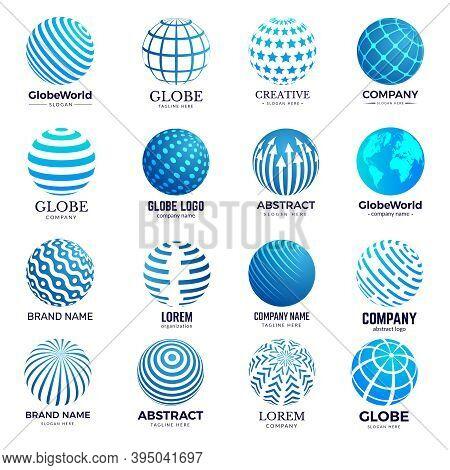 Globe Symbols. Circle Forms World Round Shapes Identity Stylized Icon For Logo Design. Illustration