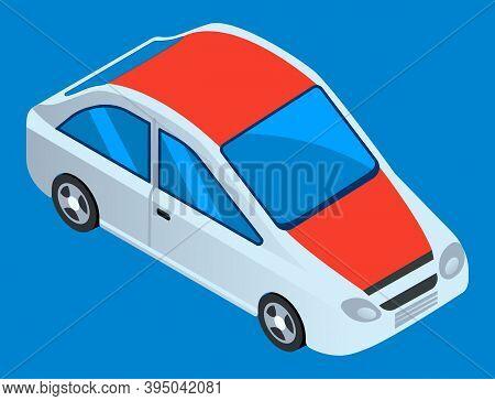 Smart Modern Automobile. White Car Vector Template On Blue Background. Minivan Or Multi Purpose Vehi