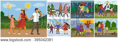 Family For A Walk At Different Times Of The Year Set Vector Flat Illustration, People Walking Outdoo