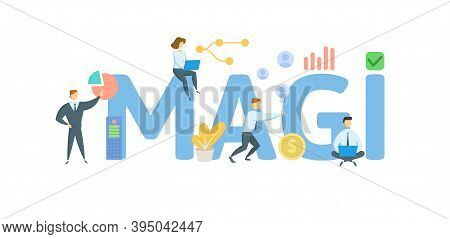 Magi, Modified Adjusted Gross Income. Concept With Keywords, People And Icons. Flat Vector Illustrat