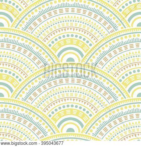 Gypsy Circle Elements Carpet Design Vector Seamless Pattern. Folk Motifs Retro Line Art Geometry. Ro