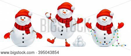 Set Of Snowman With Different Emotions And Postures. Santa Claus In A Red Beanie Hat With Pompon, Bu