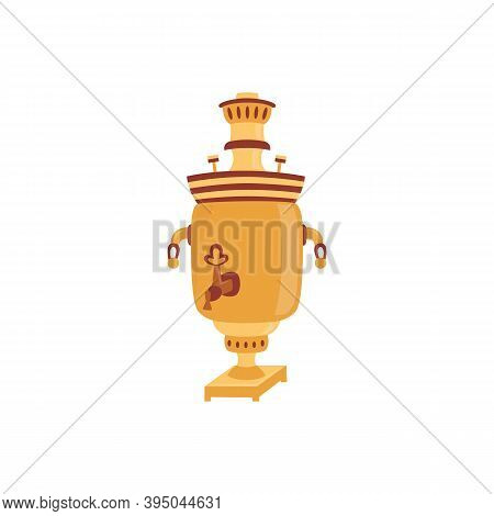 Russian Samovar A Kind Of Teapot For Tea Brewing Vector Illustration Isolated.