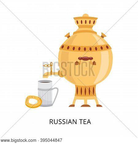 Russian Tea Card With Samovar The Big Teapot Flat Vector Illustration Isolated.