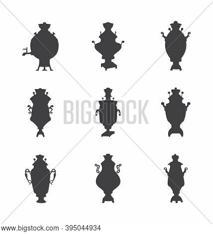 Set Of Russian Traditional Samovars A Isolated Vector Illustrations