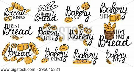 Bakery Logo Collection. Bread Homemade Emblem Set. Hand Drawn Doodle Label For Bakery Food Packaging