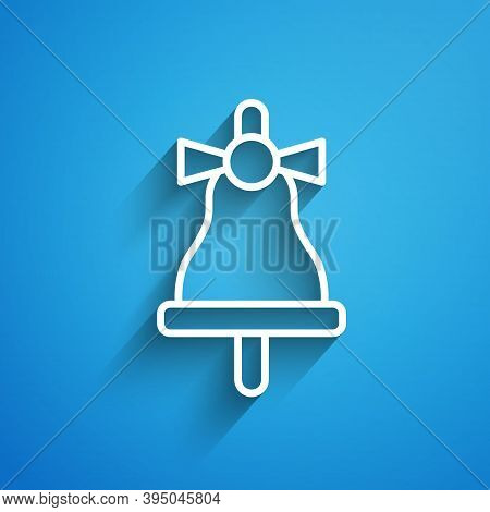 White Line Merry Christmas Ringing Bell Icon Isolated On Blue Background. Alarm Symbol, Service Bell