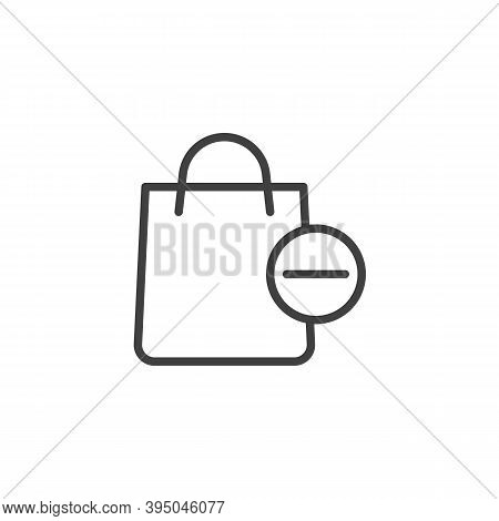 Delete From Shopping Bag Line Icon. Linear Style Sign For Mobile Concept And Web Design. Shopping Ba