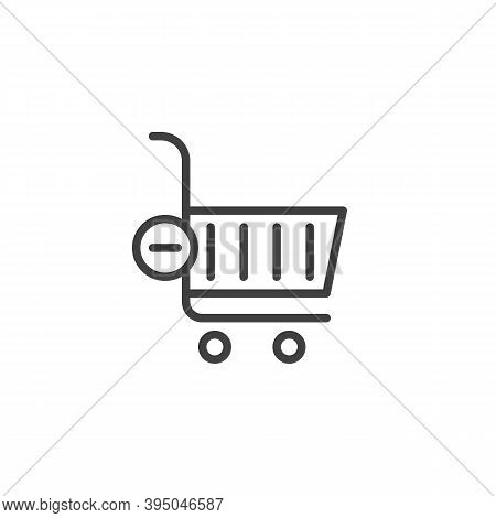 Delete From Shopping Cart Line Icon. Linear Style Sign For Mobile Concept And Web Design. Shopping C