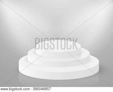 Podium 3d Round Stage. Circle White Pedestal. Empty Vector Showroom Platform