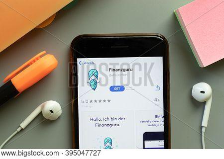 New York, United States - 7 November 2020: Finanzguru App Store Logo On Phone Screen, Illustrative E
