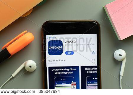 New York, United States - 7 November 2020: Check24 App Store Logo On Phone Screen, Illustrative Edit